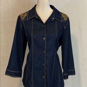 Susan Graver Size L Button Down Denim Jacket